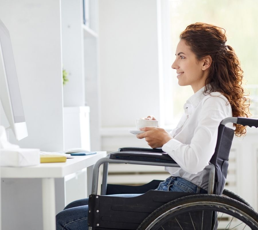 woman working from home with disability